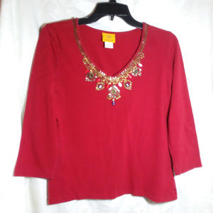 Ruby Rd Red 3/4 Sleeve Embellished Pullover Blouse